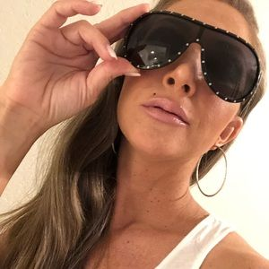 Valentino Black & Rhinestone Aviator Sunglasses